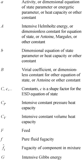 Notation Introductory Chemical Engineering Thermodynamics Book