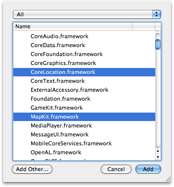 Adding the Core Location and Map Kit frameworks to an Xcode project