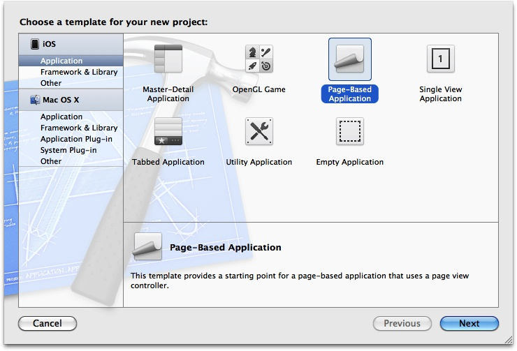 The New Project dialog in Xcode