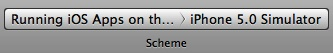 The Scheme breadcrumb button in Xcode