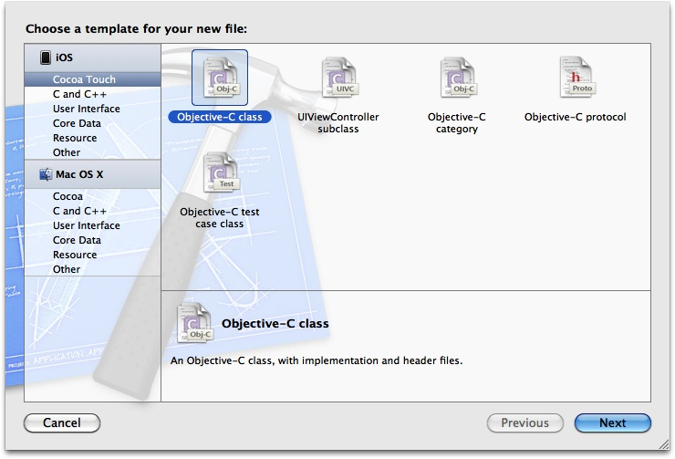 The Add File dialog in Xcode