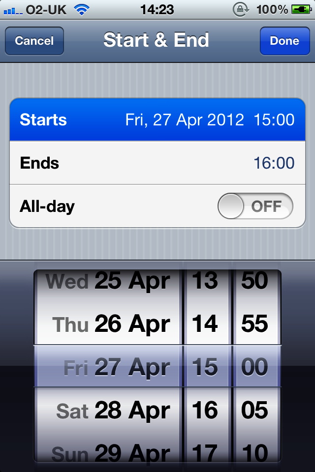 A date picker shown at the bottom of the screen