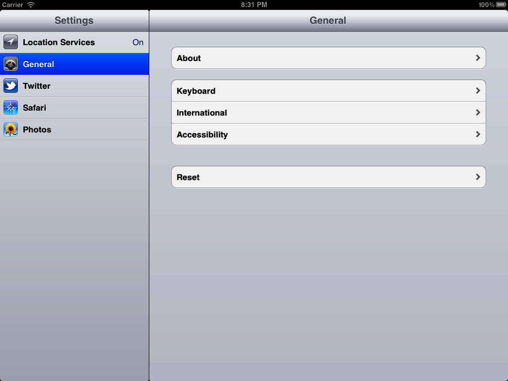 Split view controller in the Settings app on the iPad