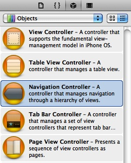 The Navigation Controller object in the Object Library