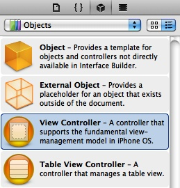 A view controller object in the Object Library
