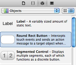 Selecting the Button object in the Object Library