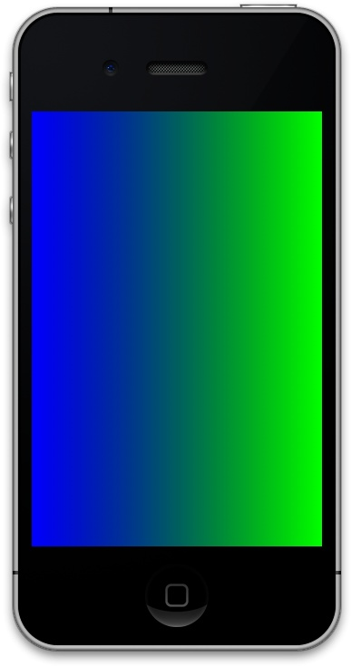 An axial gradient starting from the color blue and ending in the color green