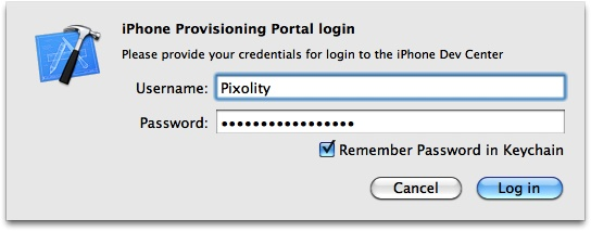 Xcode waiting for iOS Portal credentials