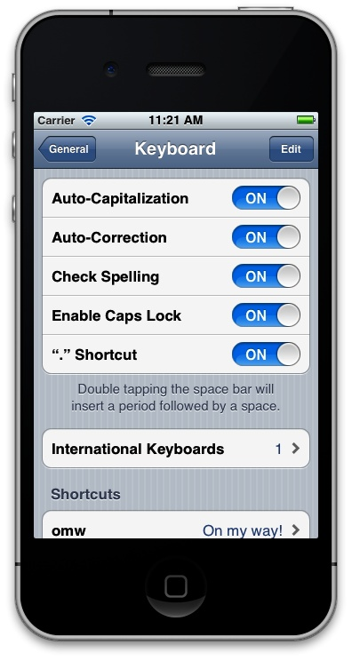 UISwitch used in the Settings app on an iPhone
