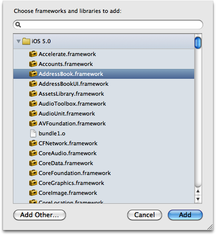 Adding the AddressBook framework to your app