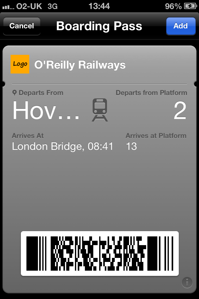 A railway ticket presented as a pass in Passbook on an iOS device