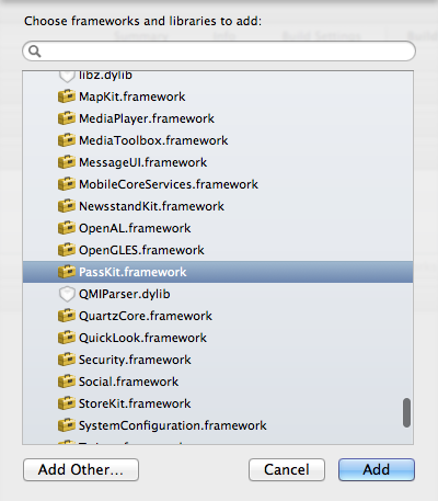 Adding the PassKit.framework to our target in Xcode