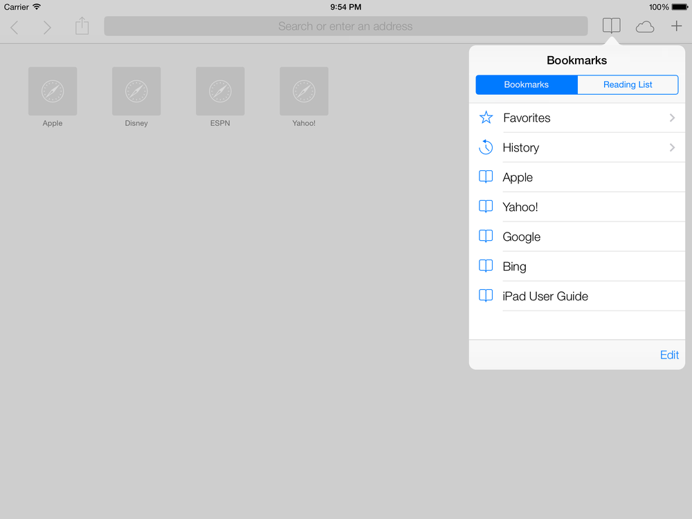 The bookmarks popover in the Safari app on an iPad