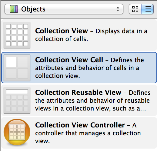 The Collection View Cell UI object in the Object Library of Interface Builder