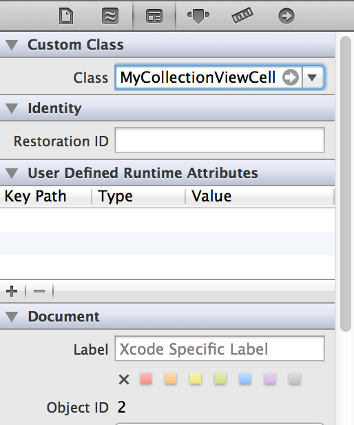 Assigning our custom class to the .xib file of our custom collection view cell