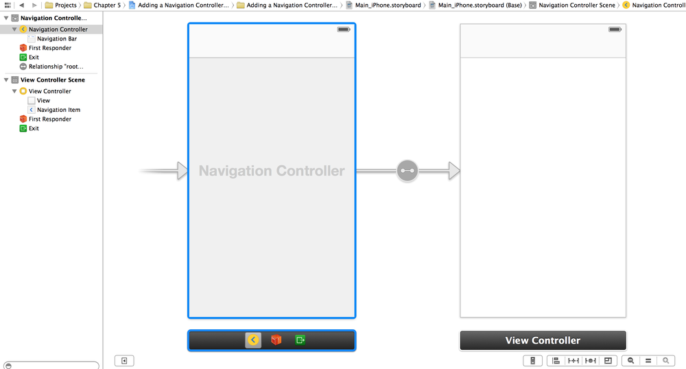 A navigation controller is now the root controller of our storyboard