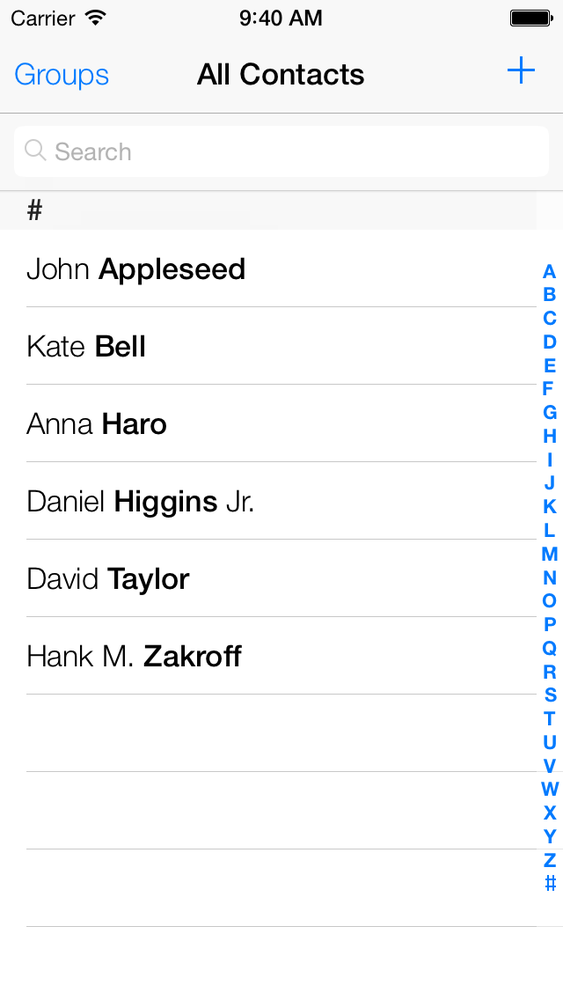 The Contacts app on the simulator already contains prepopulated information
