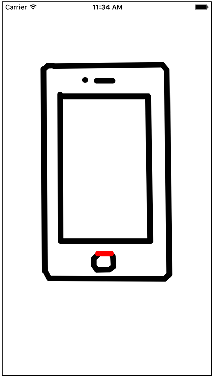 Screenshot shows a detail view controller that has a drawing of an iPhone device at the center.