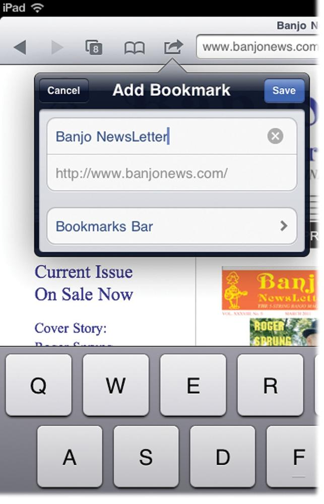 how to add something to bookmark on ipad