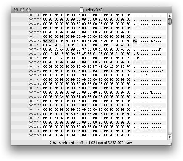 Hex Fiend for Mac displaying offset 0x400