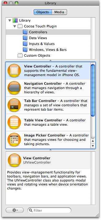 Adding a View Controller from the Library