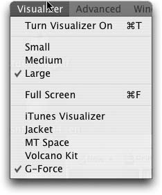 Accessing all visualizers from the Visualizer menu