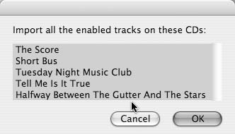 Selecting the CDs you want to rip from the Rip CDs In A Row dialog box