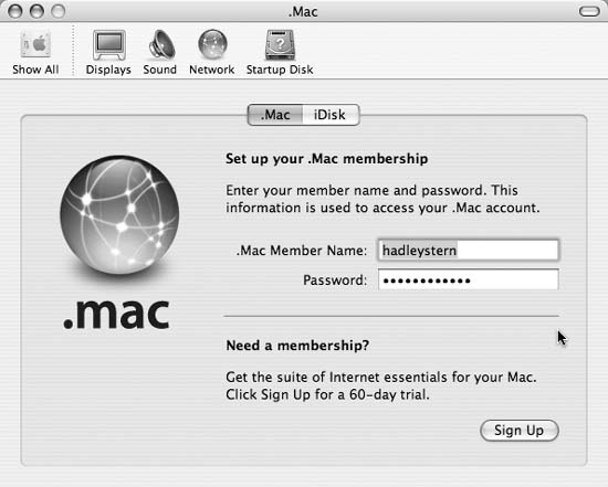 The .Mac preferences window in System Preferences