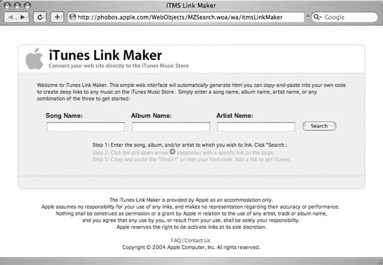 The iTunes Link Maker main page