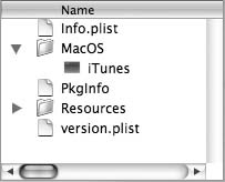 iTunes package contents