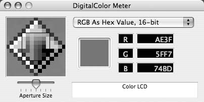 DigitalColor Meter, picking up the hexadecimal values of any pixel on the screen