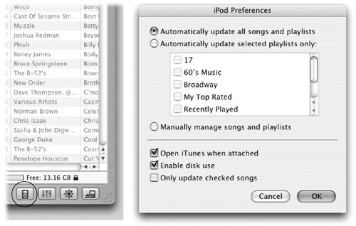 "Left: Click the circled button to call up the iPod Preferences dialog box. (The second button provides access to equalizer settings; the third controls screen displays. The last button dismounts the iPod from the computer.) Right: In the iPod Preferences box, you can choose to have the iPod update everything automatically or just certain playlists. ""Manually manage songs and playlists"" lets you move just the songs you want to the iPod."