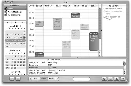 The iCal main window lets you see your life at a glance in several panes, in addition to a main window where you can display events by the day, week, or month. In the Calendars pane, you can create several color-coded calendars for different needs or family members; view coming months in the pane below. The To Do list pane lets you set up a list and check off completed tasks. In the search pane at bottom, you can seek and find specific events.