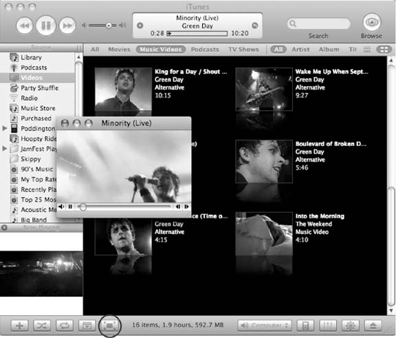 You can watch videos right in iTunes. You can see them in the Album Artwork Window, in a separate floating window (shown here) or at full-screen size by clicking the Full Screen button (circled). The two icons on the far right of the Search bar let you see your collection of videos—either as a list or as thumbnail images.