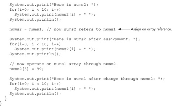 Assigning Array References - Java, A Beginner's Guide, 5th