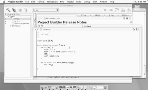 MacOS X Developer Tools IDE: main windows