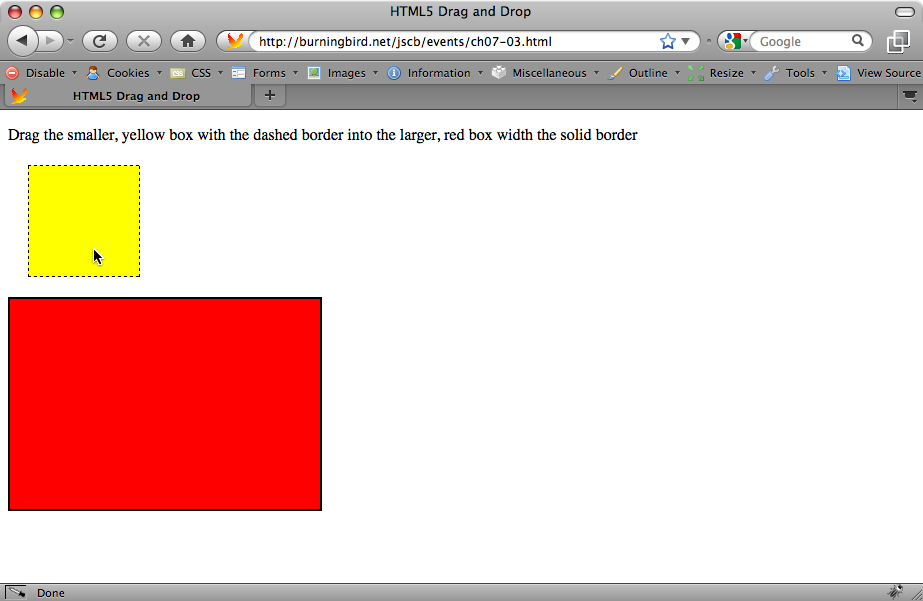 Web page with drag-and-drop enabled; before drag-and-drop