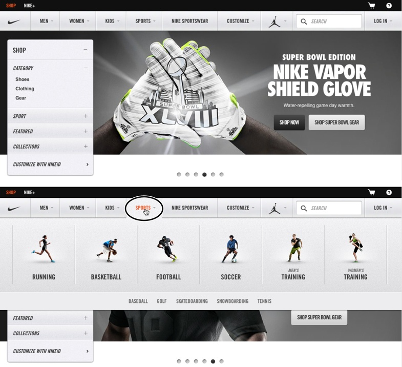 Nike.com's website uses JavaScript extensively to create a compelling showcase for their products. The home page (top) includes a row of navigation buttons along the top—Men, Women, Kids, and so on—that, when moused over, reveal a panel of additional navigation options. For example, mousing over the Sports button (circled in bottom image) reveals a panel listing different sports that Nike makes products for.