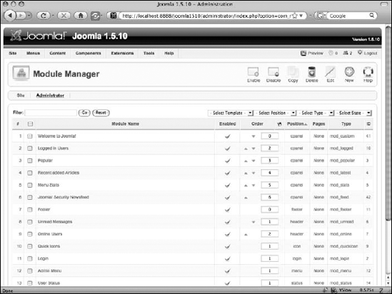 The Joomla! 1.5.x Module Manager, showing the Administrator modules.
