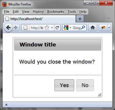 The Yes and No buttons now appear in the dialog box