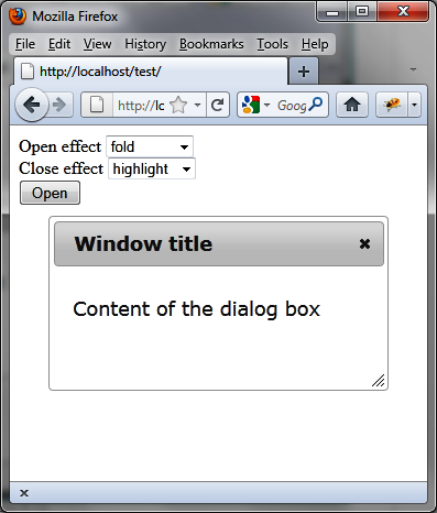 Application of an effect at the opening and closing of the dialog box