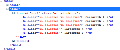 HTML generated by the selectable () method