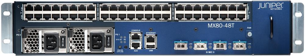 Juniper MX80-48T supports 48x1000BASE-T and 4x10GE ports
