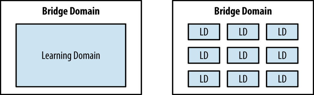 Illustration of Single Learning Domain and Multiple Learning Domains per Bridge Domain