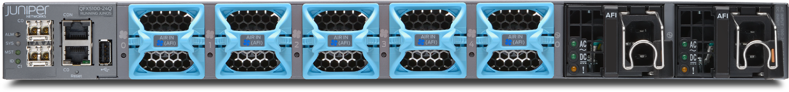 The rear of the Juniper QFX5100-24Q, illustrating the AFI air flow on the fans and power supplies