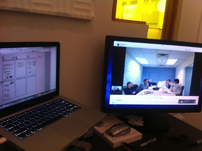 Dual monitor setup during remote Design Studio.