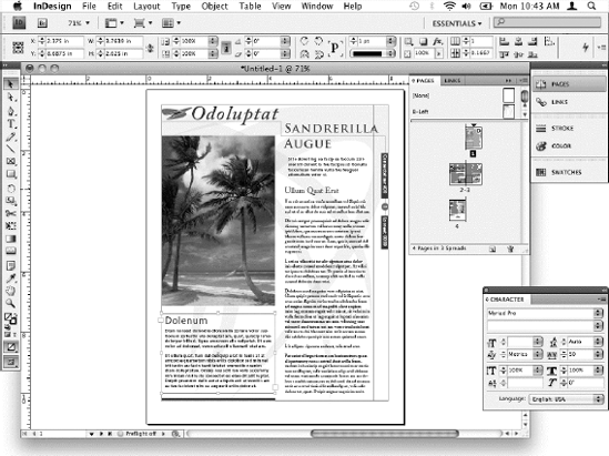 The Adobe InDesign application