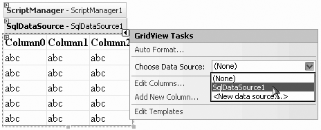 The Smart Tag of the GridView control lets you select the data source you want to use.
