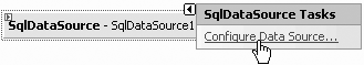A Smart Tag opens when you drag the SqlDataSource control onto your page allowing you to configure the data source.