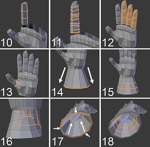 Blender Character Modeling Guide : Adding the fingers and wrist learning blender a hands